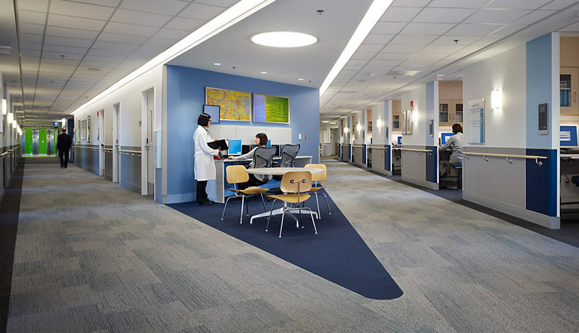 Designer carpet tile for healthcare - installed ashlar