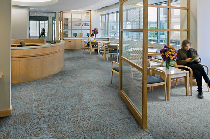 Durable modular carpet tile for healthcare facilities