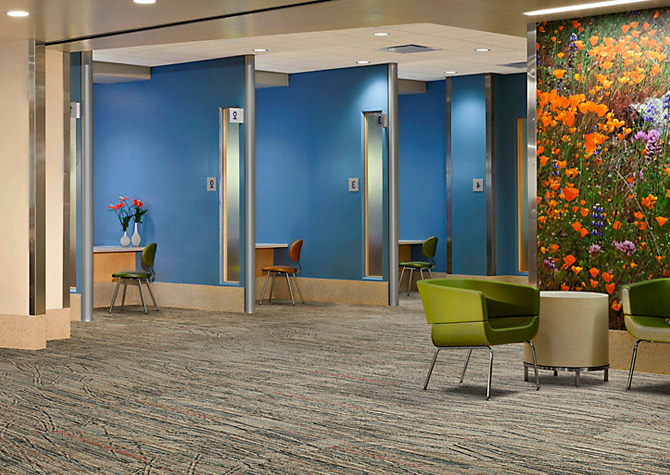 Noise minimizing modular carpet tile for hospitals