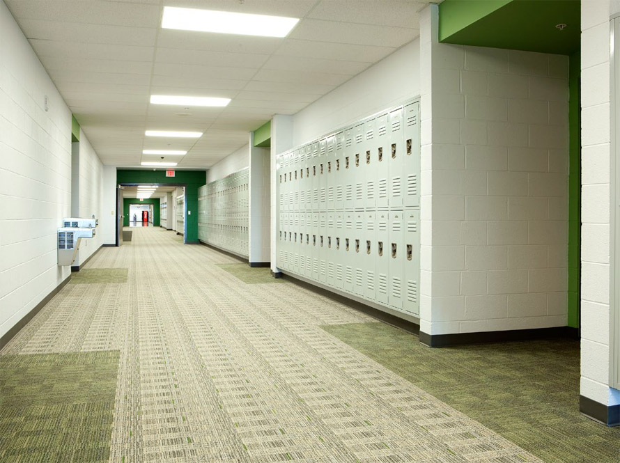 Milliken carpet education corridor installation