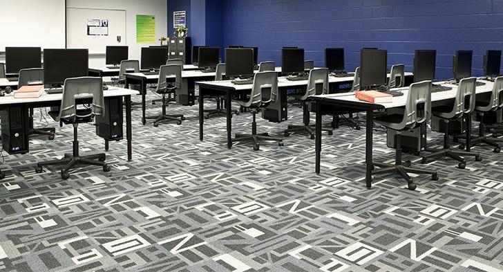 Milliken classroom carpet installation