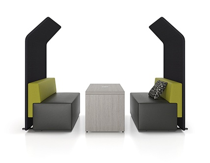 Artopex collaboration furniture with privacy upholstered screens Downtown series