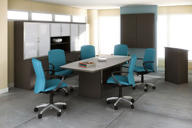 Boat shaped laminate conference table by ABCO