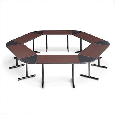 Laminate modular training tables in hexagon shape smart tables by ABCO