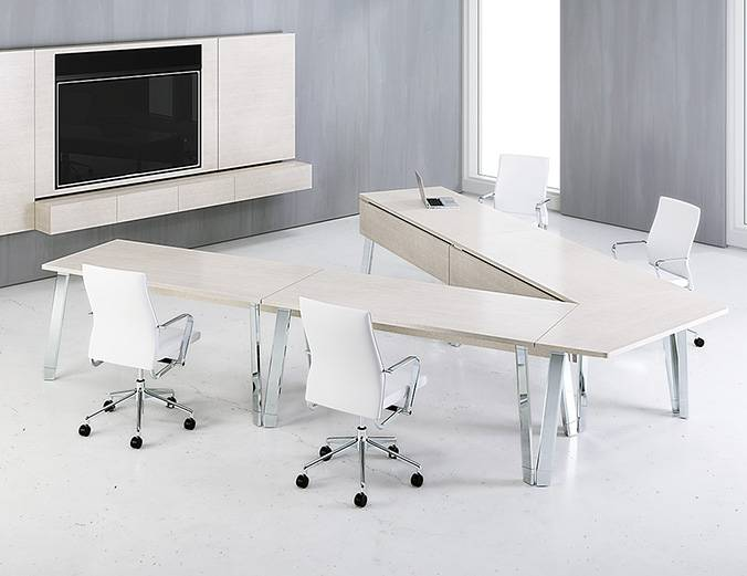 Modern wood v-shaped conference table with modesty panels - Nucraft