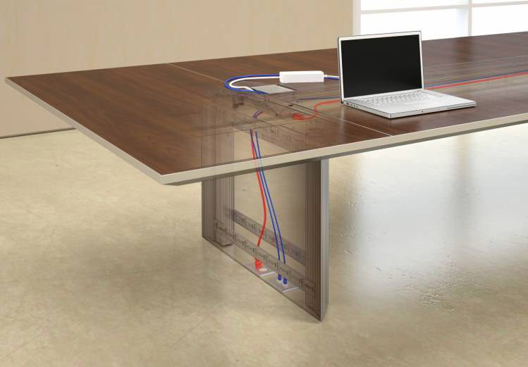 Nucraft conference table wiring and data detail image