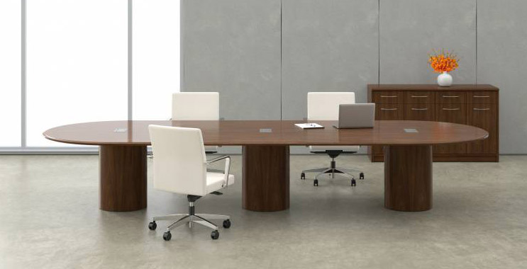 Nucraft oval-shaped conference table with cylinder bases
