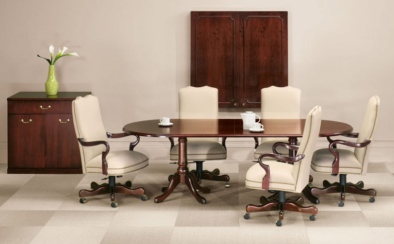 Traditional veneer conference table in Presidential Walnut finish Indiana Furniture