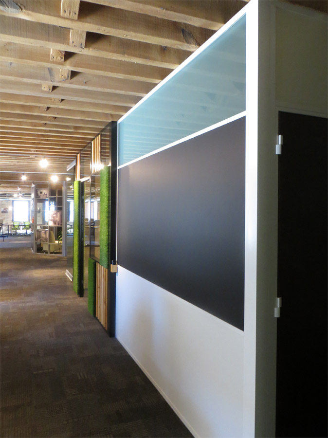 Black chalkboard wall frosted glass clerestory with white aluminum extrusions