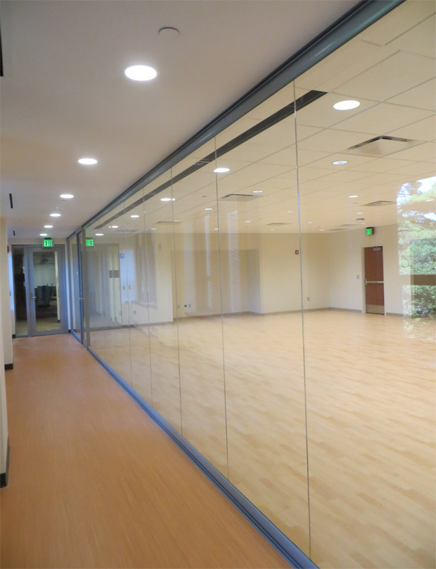 Center mounted glass butt jointed glass wall panels multi purpose room