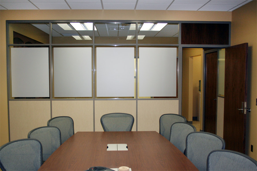 Conference room with privacy glass film and clear tempered clerestory