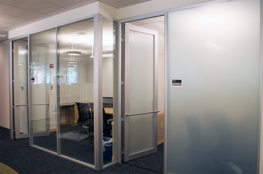 Nxtwall movable wall glassfronts with anodized finish