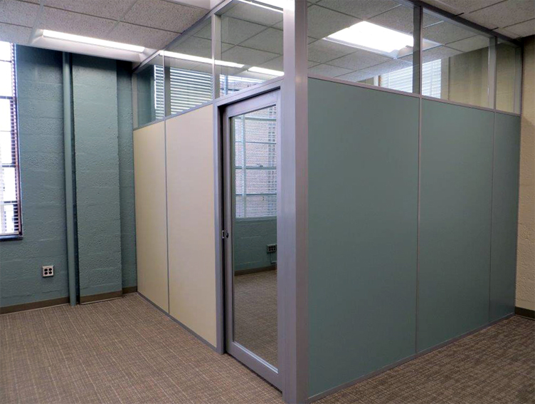 Solid panel office clerestory aluminum framed glass door at MSU