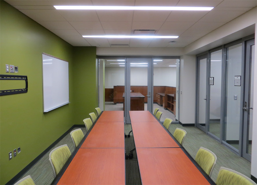 View series glass walls University conference room