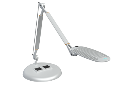Computer desk task led light with powered outlet base Spaceco
