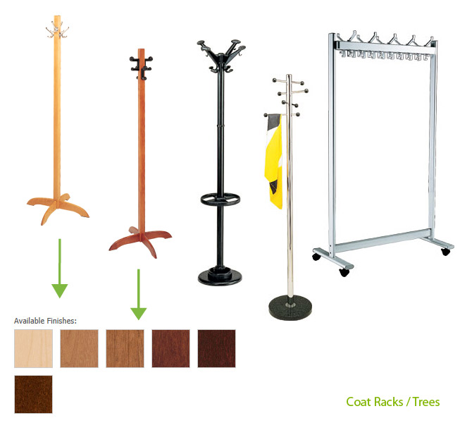 Coat racks, coat trees, and coat hooks