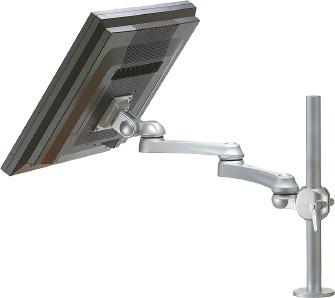 Single monitor arm for desktop grommet mount or deskclamp attachment