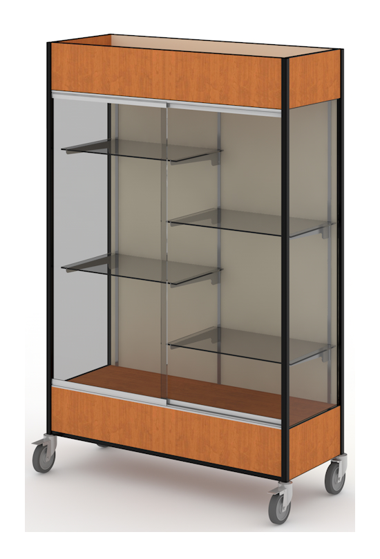 Fleetwood mobile glass display trophy case with half width shelves