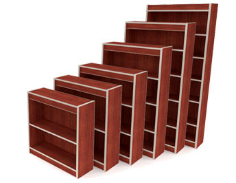 Bookcases library single or double sided laminate or wood finishes