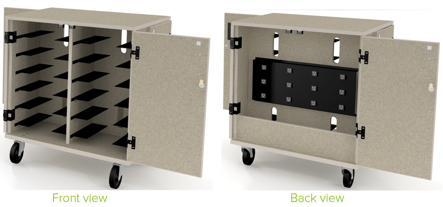 Laptop storage recharging mobile carts 28 series front and back view