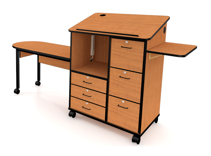 Mobile teaching station laminate finish fleetwood
