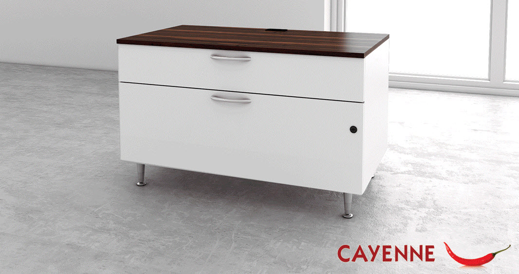 2 drawer metal lateral file with laminate top - Great Openings Cayenne series