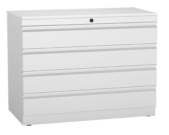 Locking metal file cabinet with 6 inch drawers Great Openings Trace series