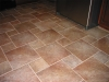 Porcelian tiles installed over ditra backing
