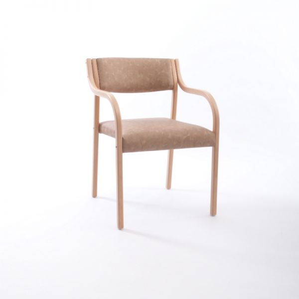 Wood guest chair with open back, Lamineer series by Westin Nielsen