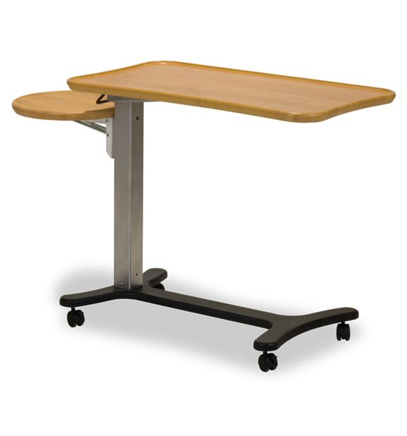 Mobile over bed table for healthcare
