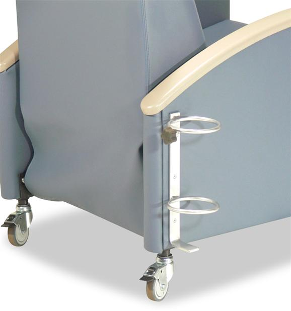 Oxygen tank holder for recliners and patient chairs