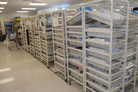 Healthcare surgical supply storage specialty shelving