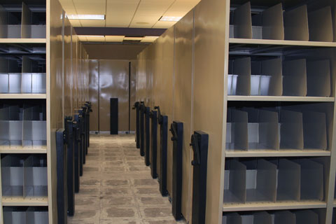 High density storage and filing large x-ray mechanical assist office system