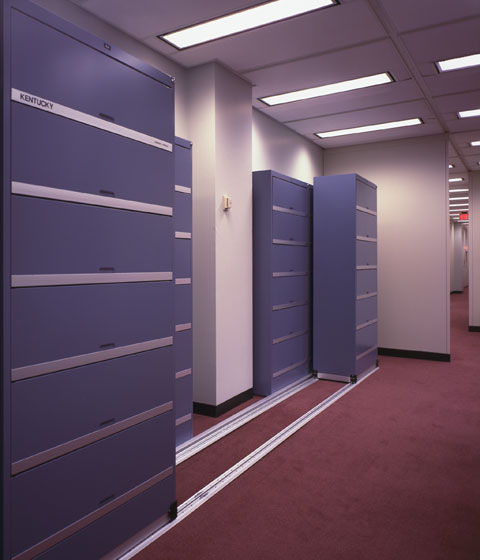 HIPAA lateral system lockable and retractable doors