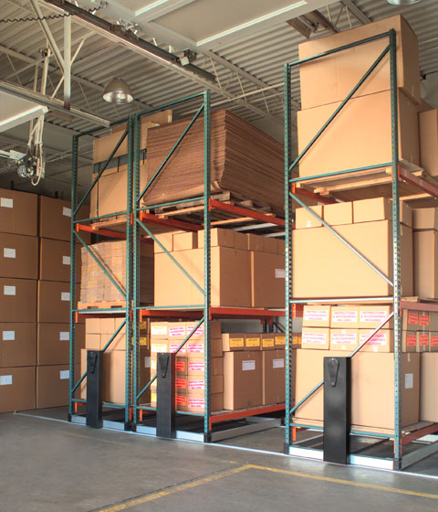 Movable warehouse rack storage high density storage solution