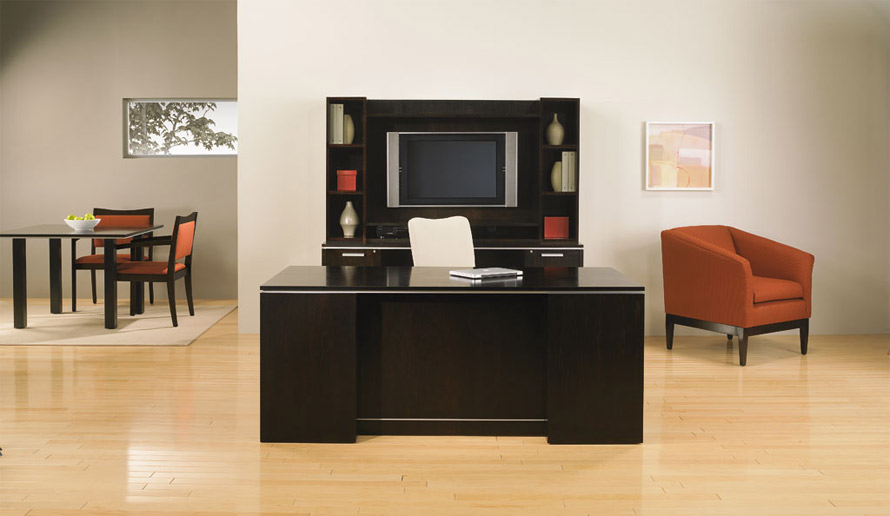 Small Home Office Desk With Storage Credenza Veneer Wood