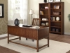 Wood home office writing desk with bookshelves