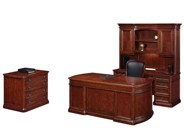 Wood Home Office Desk Suite With Lateral File And Credenza Dmi