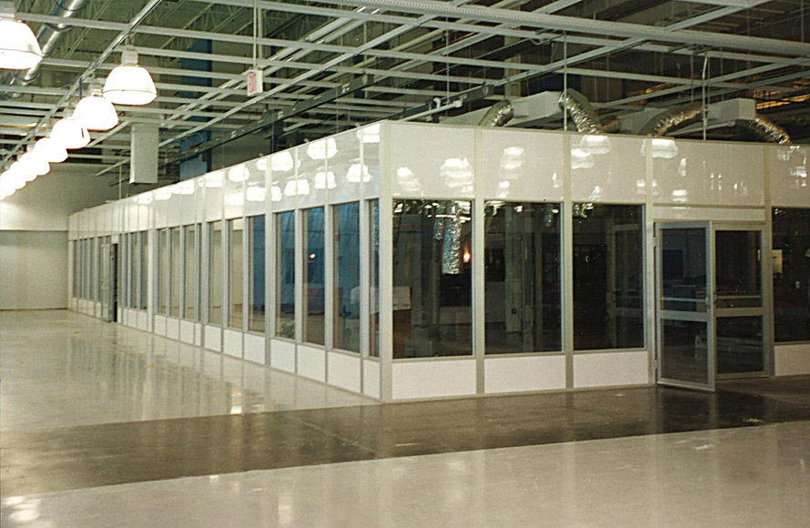 Glass single story inplant office with double swing door and hvac