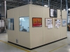 Inplant modular offices double configuration solid vinyl wall panels and windows