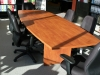 ABCO - 10' Boat shaped laminate conference table with slab bases wild cherry finish 529