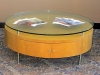 Custom maple coffee table with glass top (42-inch diameter)