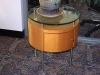 Custom maple wood side table with glass top (20-inch diameter)