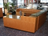 CCM - Custom reception u-shaped wood desk with glass reception top and maple finish #530-1