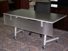 Groupe Lacasse - High Pressure laminate folding training table with flip-top and casters