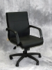 Boss - Mid back fixed arm black leather executive chair #474