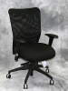 Buzz Seating - Pronto black mesh chair with black fabric seat adjustable arms #476