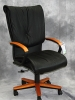 Indiana Furniture - Energi swivel management chair light maple wood and black leather #484