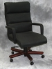 Indiana Furniture - Karlin cherry wood executive chair with cashmere ebony vinyl #485