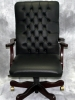 Indiana Furniture - Larson executive black leather mahogany wood chair #486